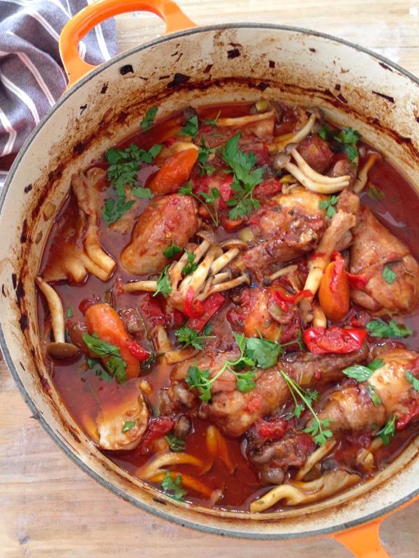 Big Pot of Italian Chicken Cacciatore with Wild Mushroom in Red Wine Gravy