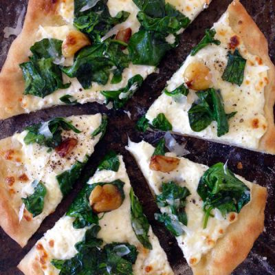 Ricotta Spinach Pizza Recipe (Pizza Bianca)
