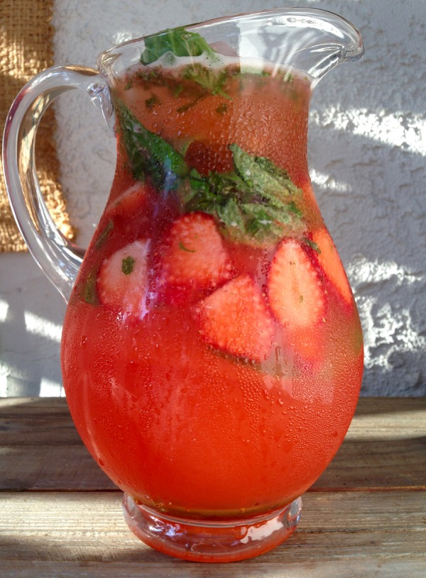 Pitcher of Strawberry Basil Lemonade in the Morning Sun