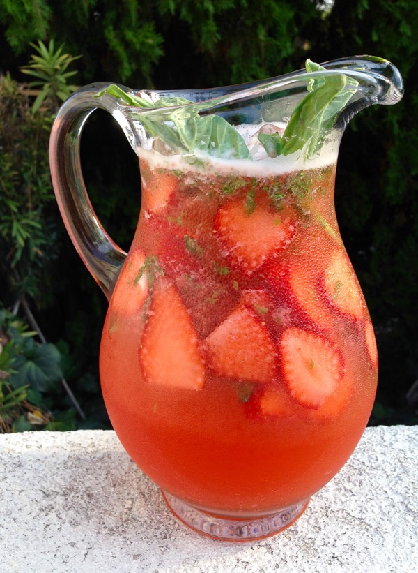 Pitcher of Strawberry Basil Lemonade in the Garden