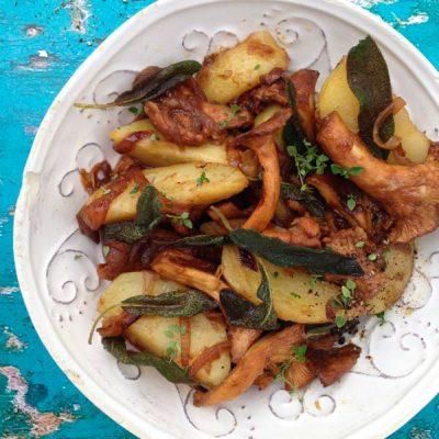 Chanterelle Mushrooms Recipe with Crispy Sage Potatoes