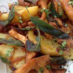 Crispy Sage Potatoes with chanterelle mushrooms recipe
