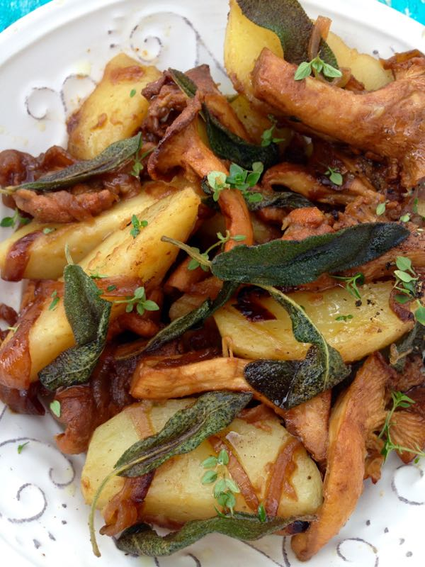 White Serving Bowl with Chanterelle Mushrooms and Crispy Sage Potatoes