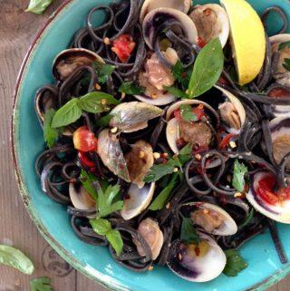 Squid Ink linguine and clams recipe