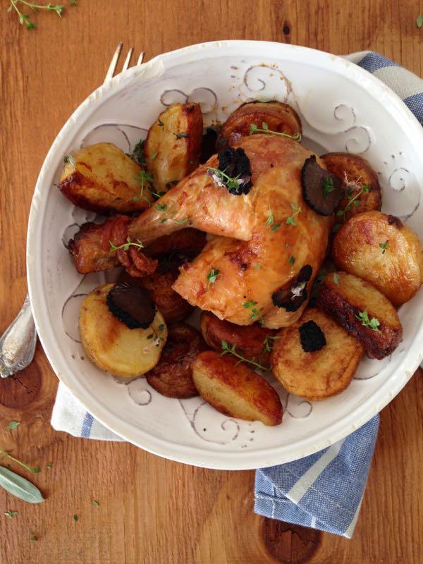 Truffle Chicken Recipe & Sage Potatoes