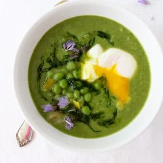 healthy leek soup with chive oil and green peas