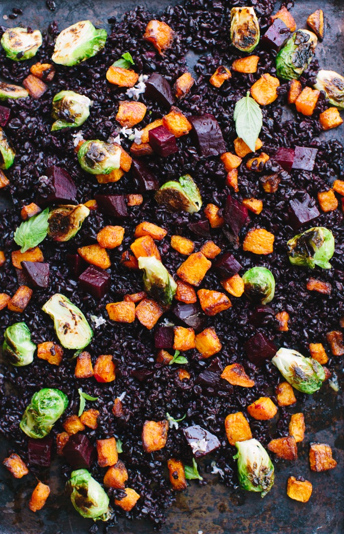 A Tray of Black Rice, Roasted Butternut Squash, Beets & Brussel Sprouts Autumn Salad