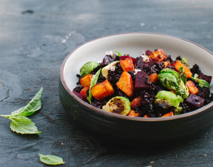 Autumn Salad with Black rice, Roasted Butternut Squash, Beets and Brussel Sprouts