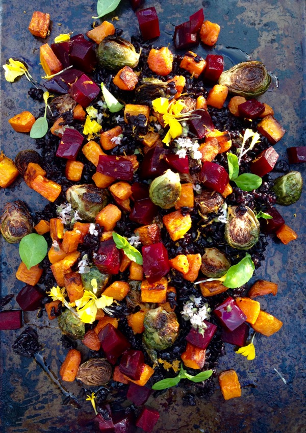 Autumn Salad Recipe with Butternut Squash, Roasted Red Beets & Brussels Sprouts