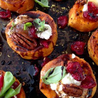 Sweet Potato Rounds Recipe with Goat Cheese, Cranberries & Honey Balsamic Glaze
