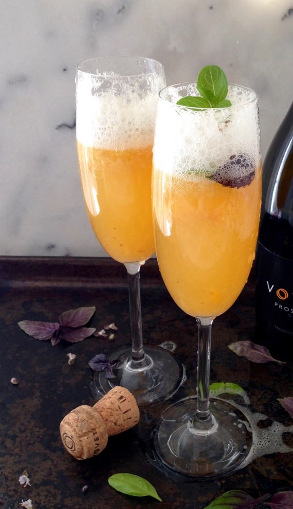 Basil Peach Bellini Cocktail Recipe