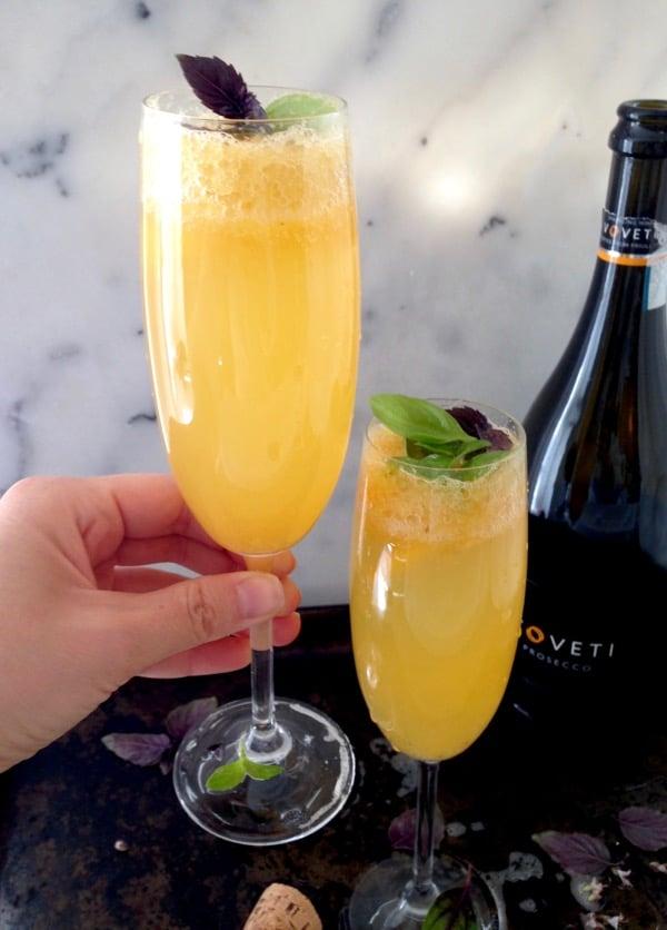Basil Peach Bellini Cocktail Recipe
