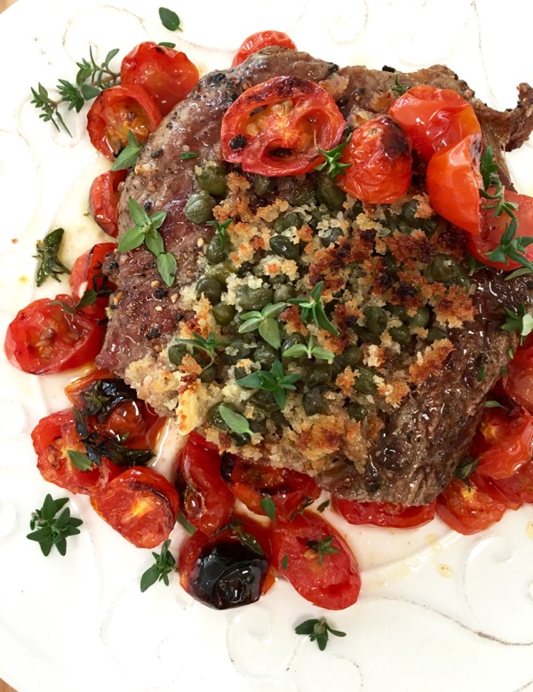 Italian Steak with Tomatoes, Capers and Bread Crumbs