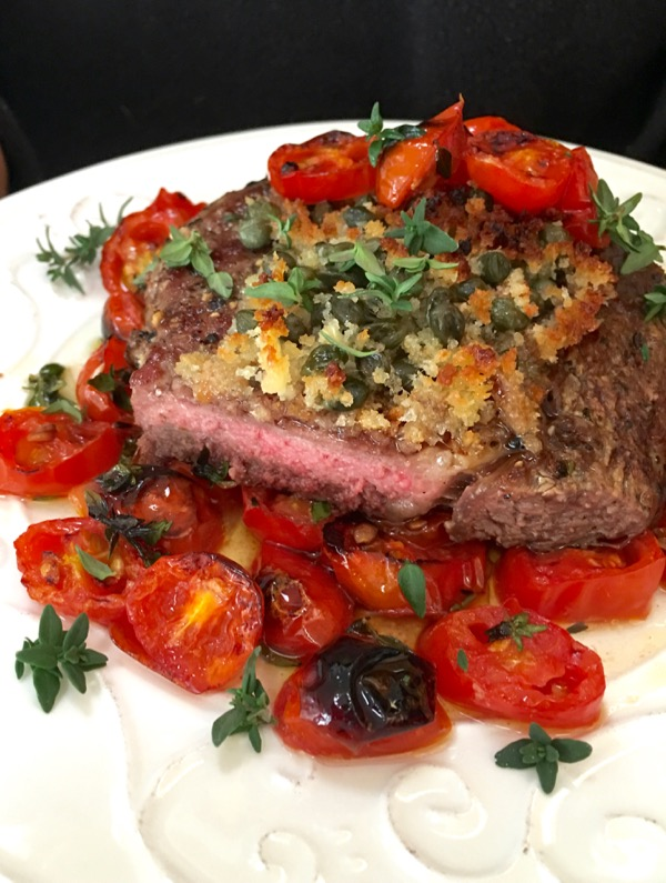 Palermo Style Italian Steak on a Bed of Roasted Cherry Tomatoes