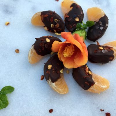 Chocolate Covered Oranges with Red Pepper Flakes