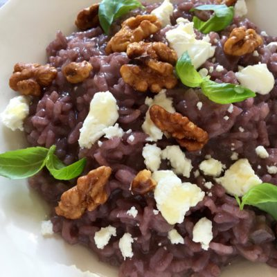 Red Wine Risotto Recipe with Goat Cheese & Candied Walnuts