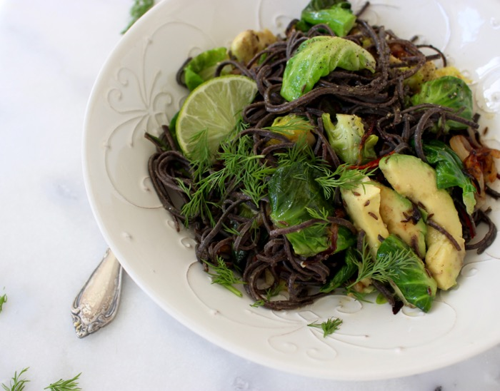 Black Bean Spaghetti Recipe with Brussels Sprouts & Avocado