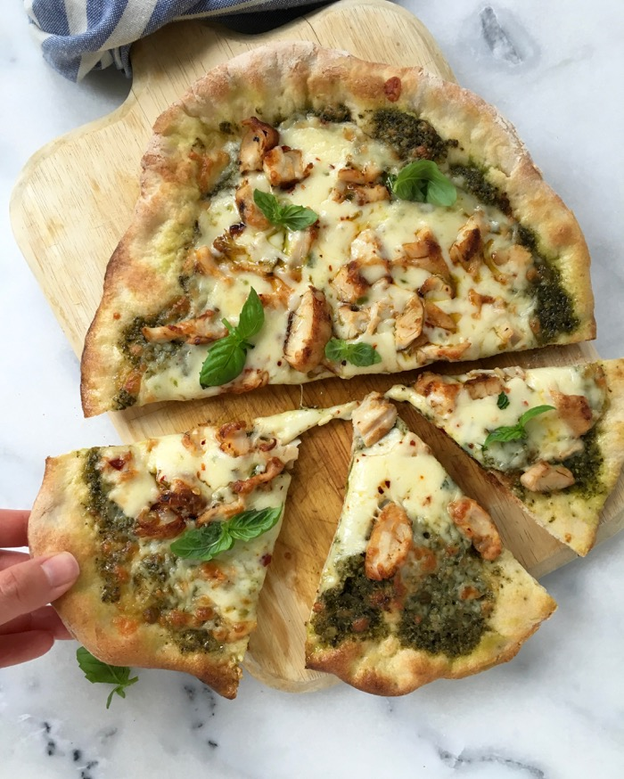 Sliced Chicken Pesto Pizza