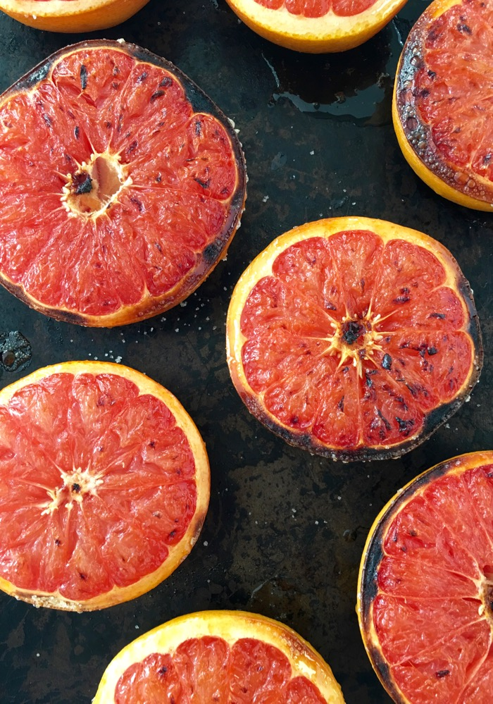 Broiled Grapefruit on Cookie Sheet