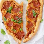 Pizza with Pepperoni and Cheese Shaped as a Heart