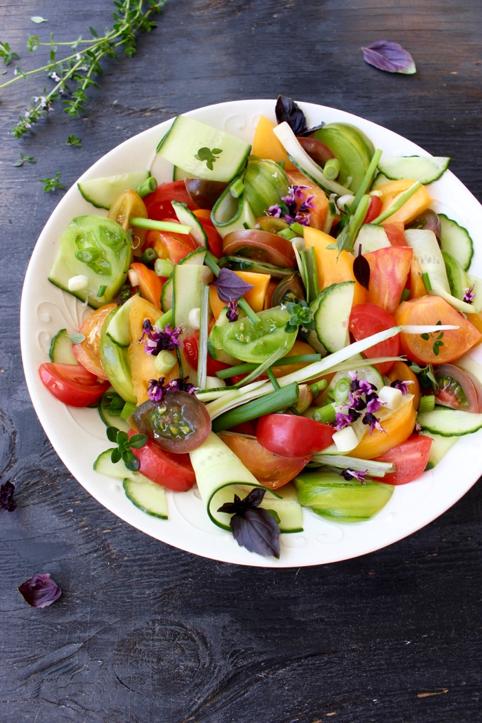 Cucumber Tomato Salad with Basil, Onions and Italian Vinaigrette