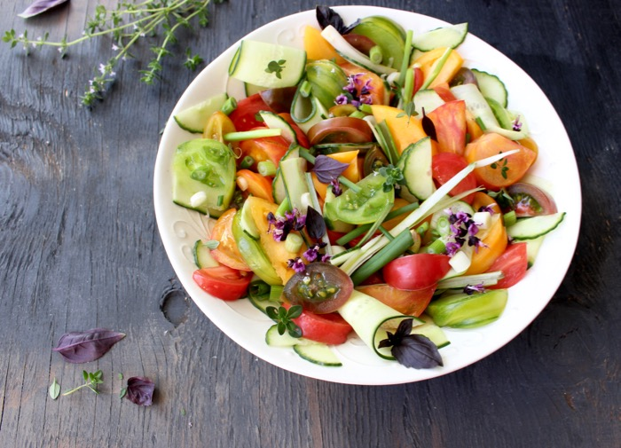Rustic Cucumber Tomato Salad with Basil, Olive Oil and Vinegar