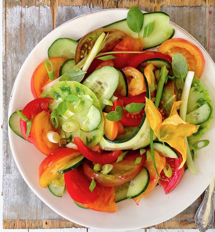 Rustic Cucumber Tomato Salad with Squash Blossoms and Basil