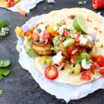 Grilled Mexican Shrimp Tacos with Salsa Fresca and Crema on Charred Flour Tortillas