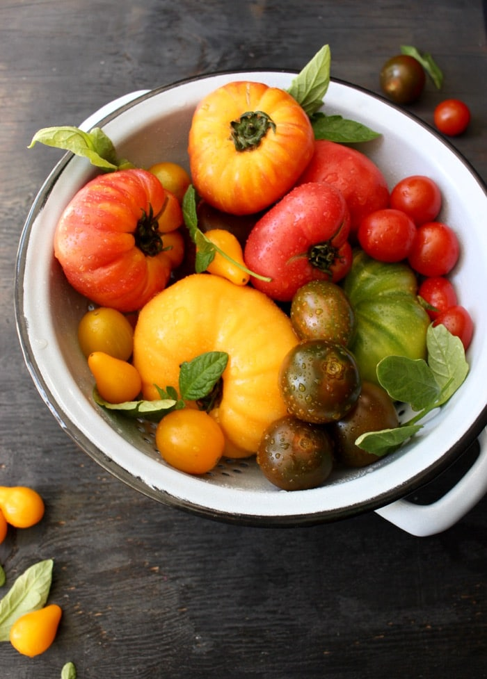 Heirloom tomatoes in a blue colander.
