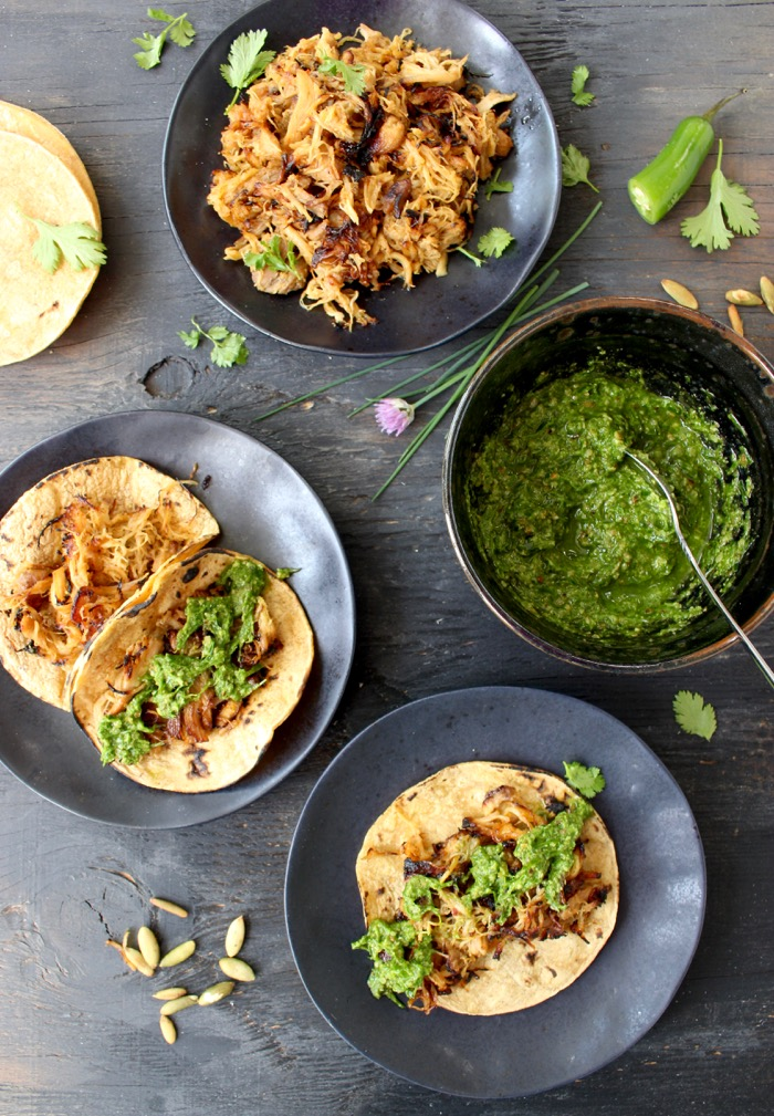 Tacos de Carnitas with Chive Pesto ( Carnitas Tacos Recipe )