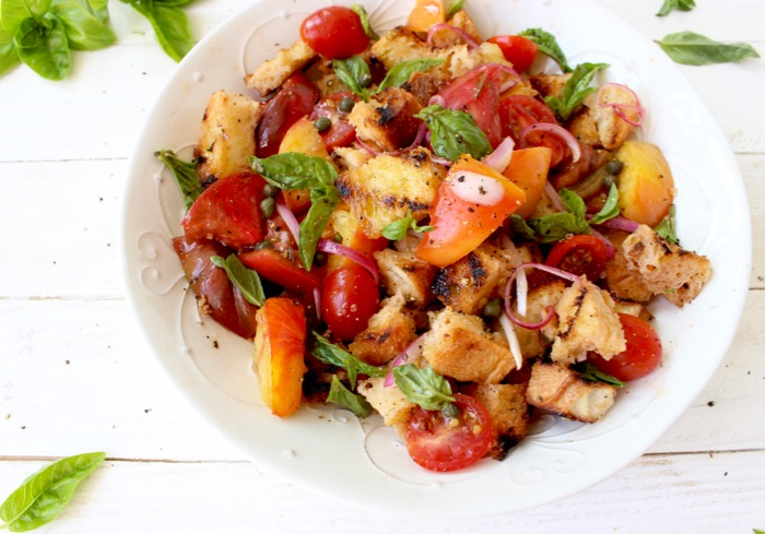 Bowl of Grilled Bruschetta Panzanella Salad with Tomatoes and Basil