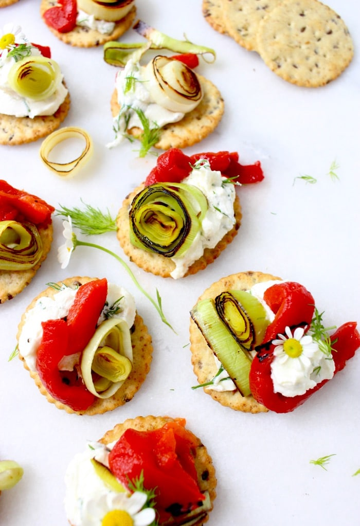 Goat Cheese Appetizer Recipe with Roasted Pepper & Caramelized Leeks