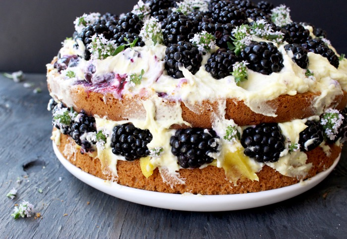 Naked Lemon Olive Oil Cake with Lemon Curd Mascarpone Filling, Topped with Fresh Blackberries and Thyme Blossoms