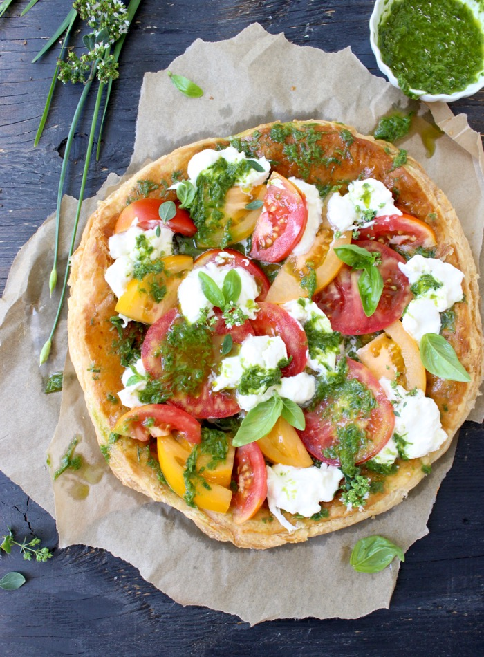 Puff Pastry Pizza with Fresh Tomatoes and Burrata