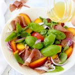 Basil Peach Salad Recipe with Honey Lemon Vinaigrette & Prosciutto di Parma
