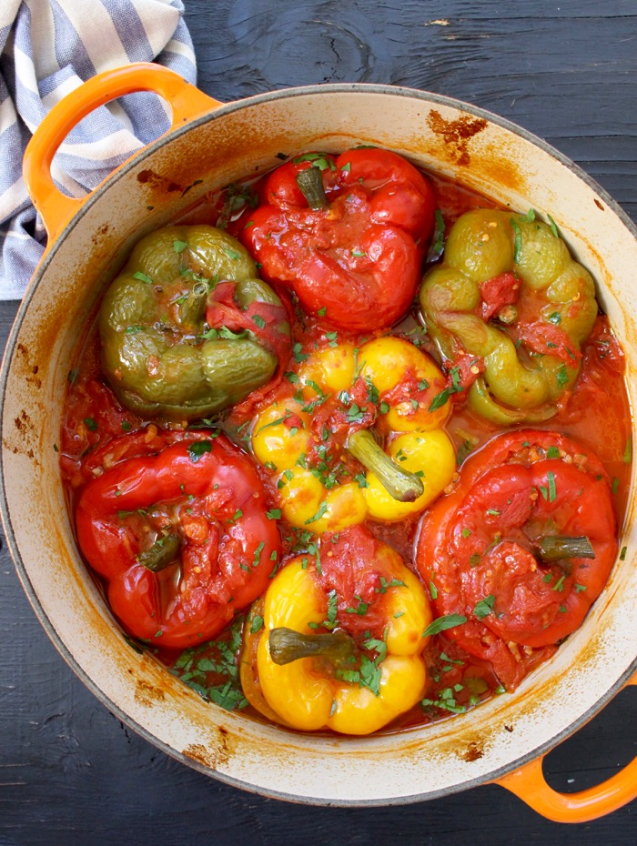 Pot filled with the Best Stuffed Peppers