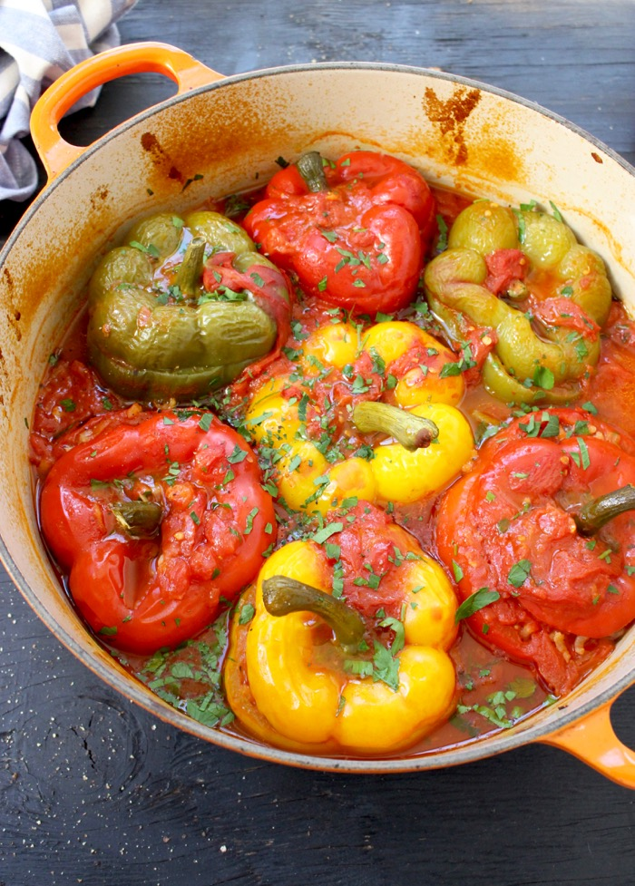 Best Italian Stuffed Peppers Recipe made with Wild Mushrooms and Arborio Risotto Rice
