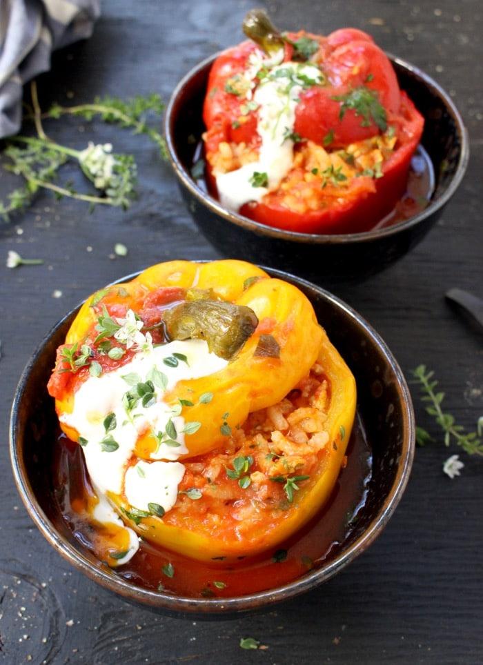 Best Stuffed Peppers in Tomato Sauce, Vegetarian Italian Style