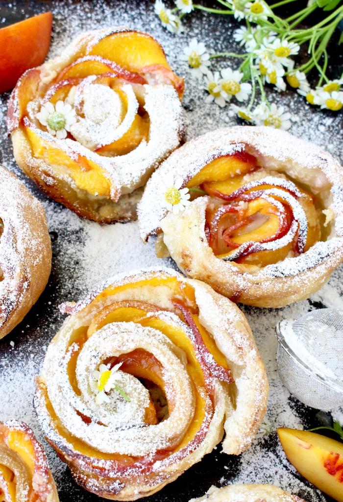 Fresh Peach Dessert Recipe with Mascarpone and Puff Pastry