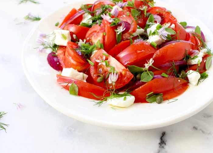 Image of Red Tomato Onion Salad with Feta Cheese, Oregano and Chives