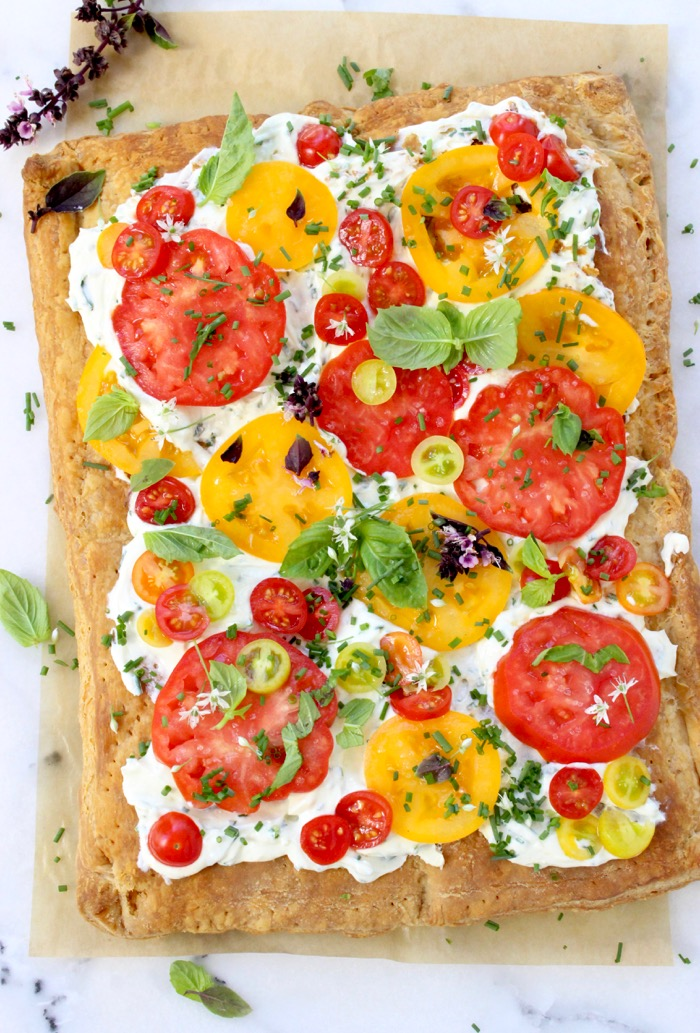 Tomato Tart Recipe with Whipped Goat Cheese, Puff Pastry and Herbs