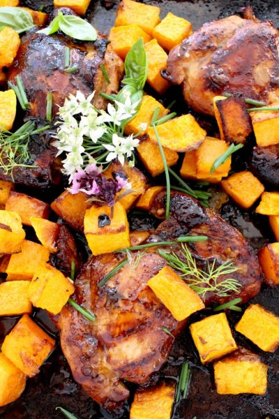 Honey Balsamic Chicken Thighs Recipe with Butternut Squash ( Easy )