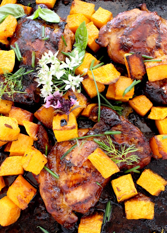 Honey Balsamic Chicken Thighs with Butternut Squash in a Roasting Pan