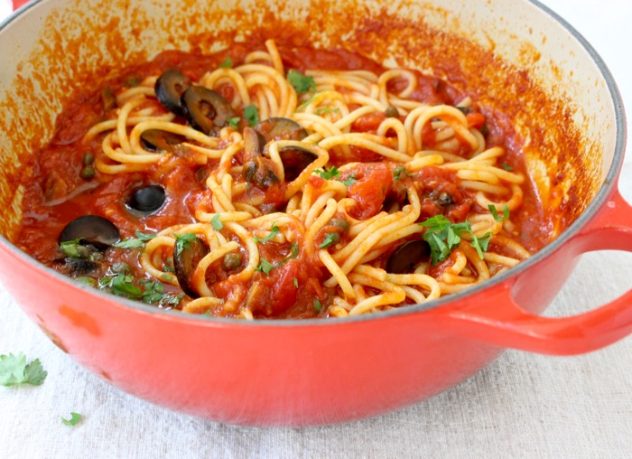 Pot Of Spaghetti Alla Puttanesca