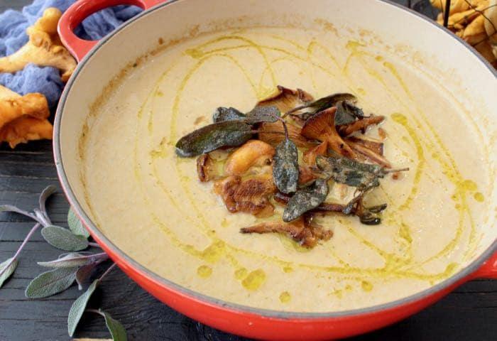 Creamy Wild Chanterelle Mushroom Soup with Crispy Sage
