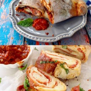 A calzone and stromboli slices with tomato sauce