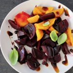 Roasted red and golden beets with balsamic glaze
