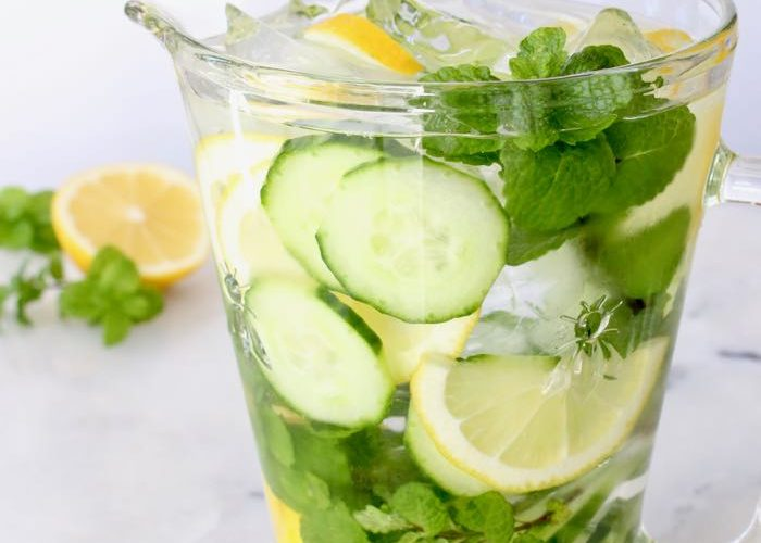 Cucumber Detox Spa Water with Lemon and Mint
