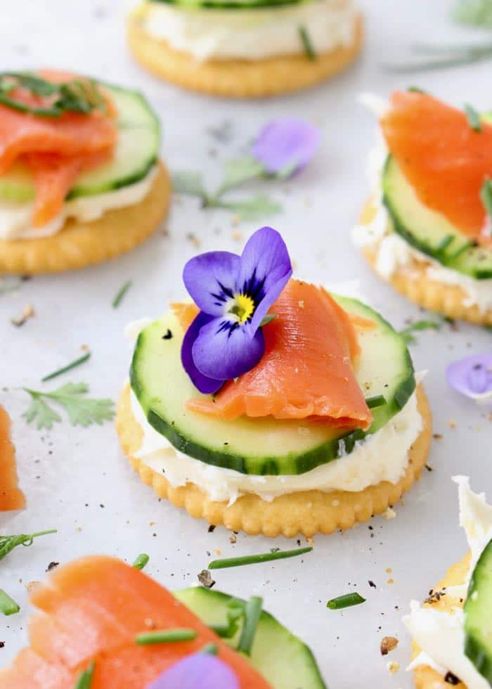 Cucumber Salmon Appetizers with Mascarpone Cream Cheese and Fresh Herbs