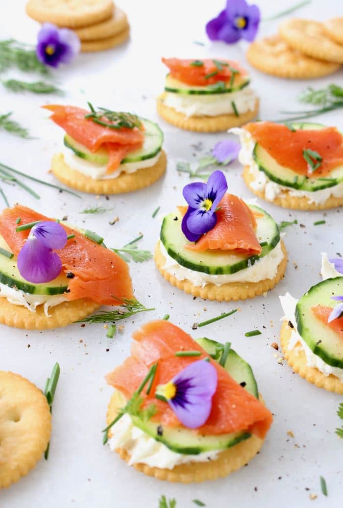 Cucumber Salmon Appetizers Platter with Mascarpone Cream Cheese and Fresh Herbs